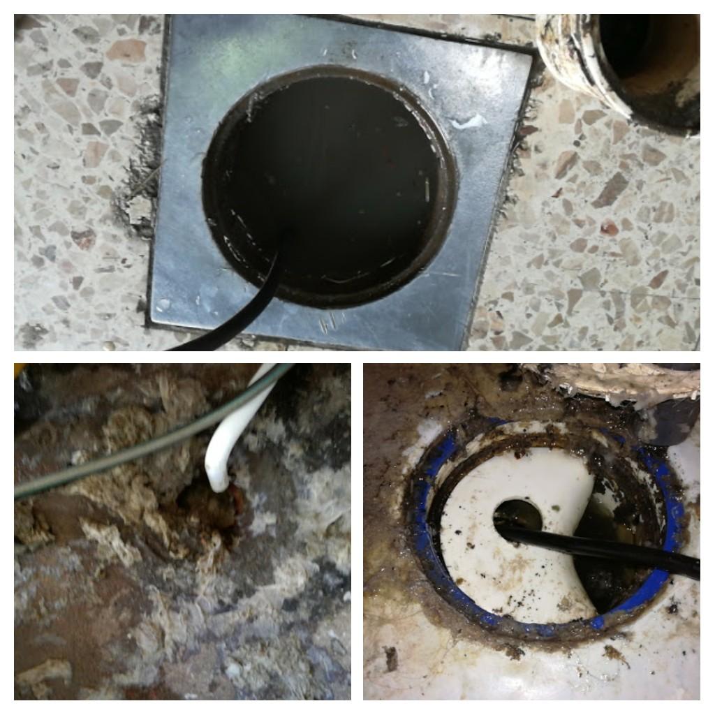 Bilden visar ett par exempel på golvbrunnar vi löst stopp i.